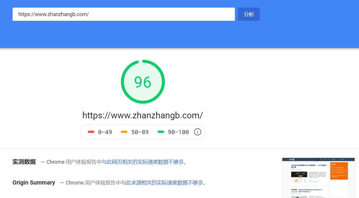 Google PageSpeed Insights 测试结果截图